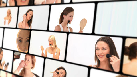 Montage of beautiful women makingup Stock Video Footage