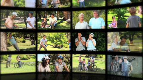 Montage of families enjoying summer moments together Animation