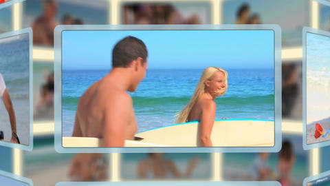 Montage of families and couples enjoying moments t Animation