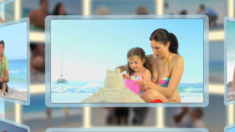 Montage of families and couples enjoying moments t Stock Video Footage