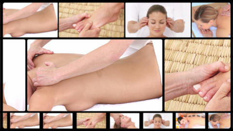 Montage of women relaxing at the spa Footage