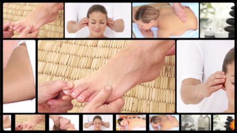 Montage of women relaxing at the spa Stock Video Footage