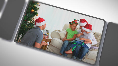 Montage of families together for Christmas Stock Video Footage
