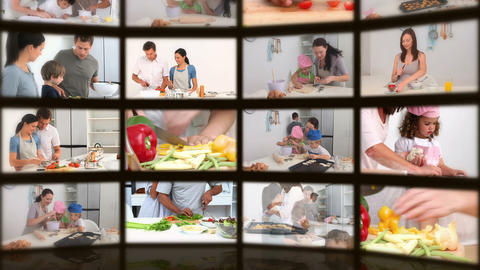 Montage of happy people in the kitchen Stock Video Footage
