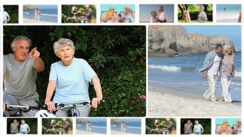 Montage of elderly couples sharing moments togethe Stock Video Footage