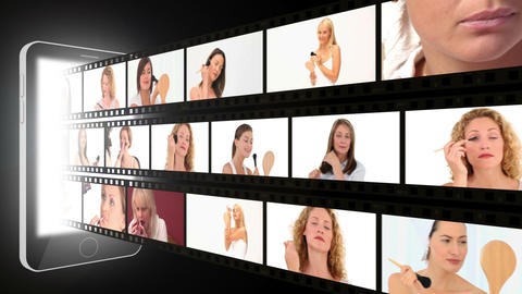 Montage of attractive women putting makeup on Animation