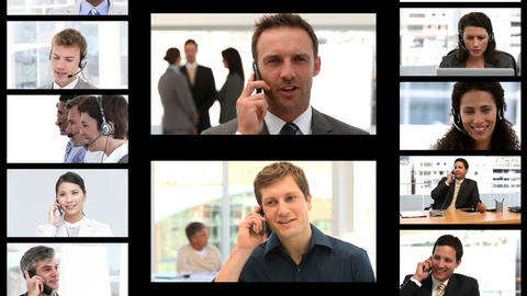 Montage of business people on the phone Animation