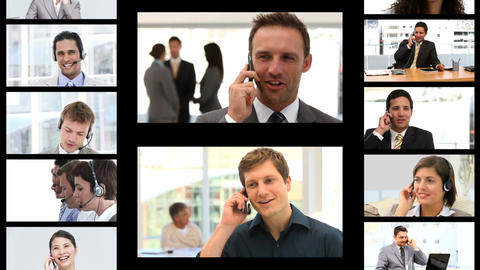 Montage of business people on the phone Stock Video Footage