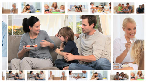 Montage of families enjoying different moments tog Animation