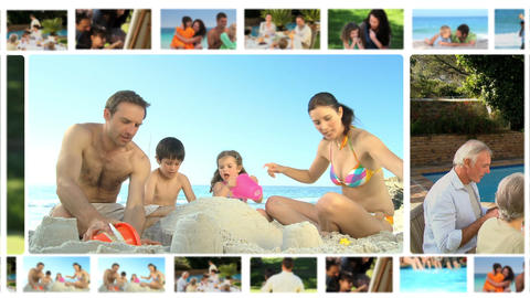 Montage of different families enjoying moments tog Animation