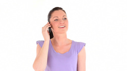 Happy young woman telephoning Stock Video Footage
