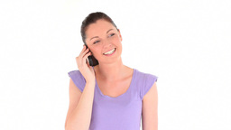Happy young woman telephoning Footage