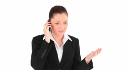 Angry businesswoman telephoning Footage