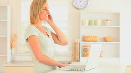 Charming blondhaired woman telephoning Footage
