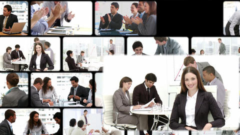 Montage of business people exchanging Animation