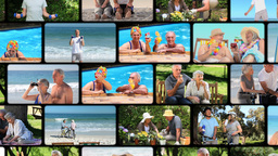 Montage of elderly couple spending time together Stock Video Footage