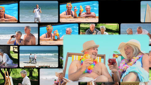 Montage of elderly couple spending time together Animation