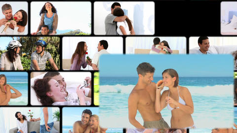 Montage of couples in several situations Animation