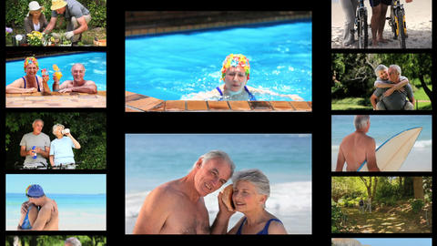 Montage of active senior couples Stock Video Footage