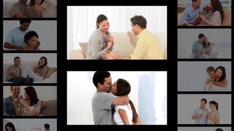 Montage of couples sharing romantic moments Stock Video Footage
