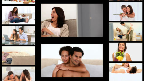 Montage of couples sharing romantic moments Animation