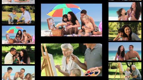 Montage of active families Animation