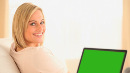 Beautiful woman working with her laptop Stock Video Footage