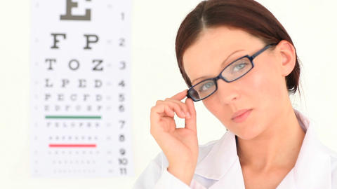 Female ophthalmologist posing Footage