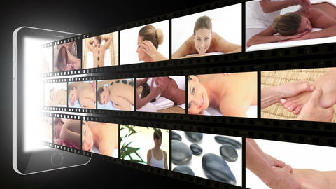 Montage of women enjoying the spa Animation