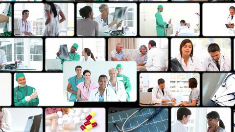 Montage of people in the hospital Stock Video Footage