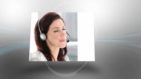 Montage of business people making phone calls Animation