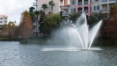 0072 Resort Blue Sky Water Fountain Footage