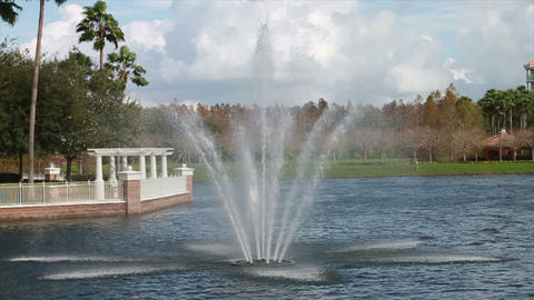 Water Fountain at Vacation Resort Stock Video Footage
