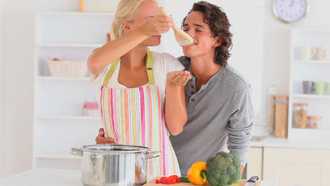 couple preparing their dinner Stock Video Footage