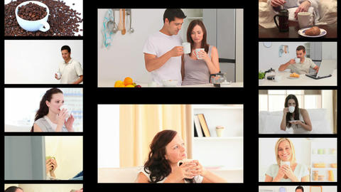 Montage of different people drinking coffee Stock Video Footage