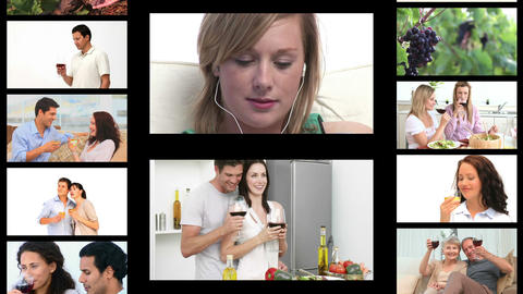 Montage of people drinking wine Animation