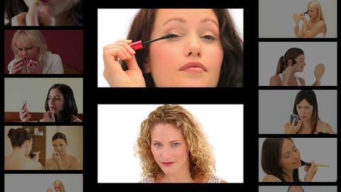 Montage of beautiful women making up Stock Video Footage