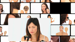 Montage of women putting make up Animation