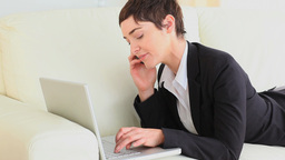Working woman using a laptop Stock Video Footage