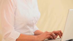 Close up of a woman using a laptop Stock Video Footage