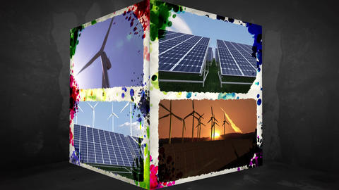 3D AnimationCube of renewable Energy Animation