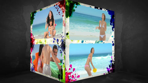 3D AnimationCube of Family Beach Holiday Animation