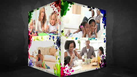 3D AnimationCube of Families at home Animation
