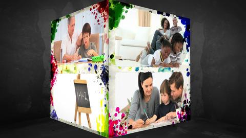 3D AnimationCube of Familymembers doing Homework Animation