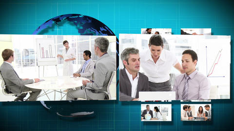 3D Animation of several Businessmeetings Stock Video Footage