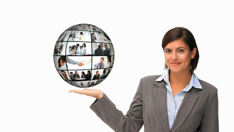 Businesswoman holding a globe Animation