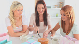 Cheerful women sitting at a table eating cake Footage