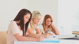 Young women doing their homework Stock Video Footage