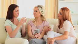 Young women gossiping over a cup of cofee Footage