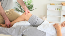 Gorgeous Woman getting a kneemassage Stock Video Footage
